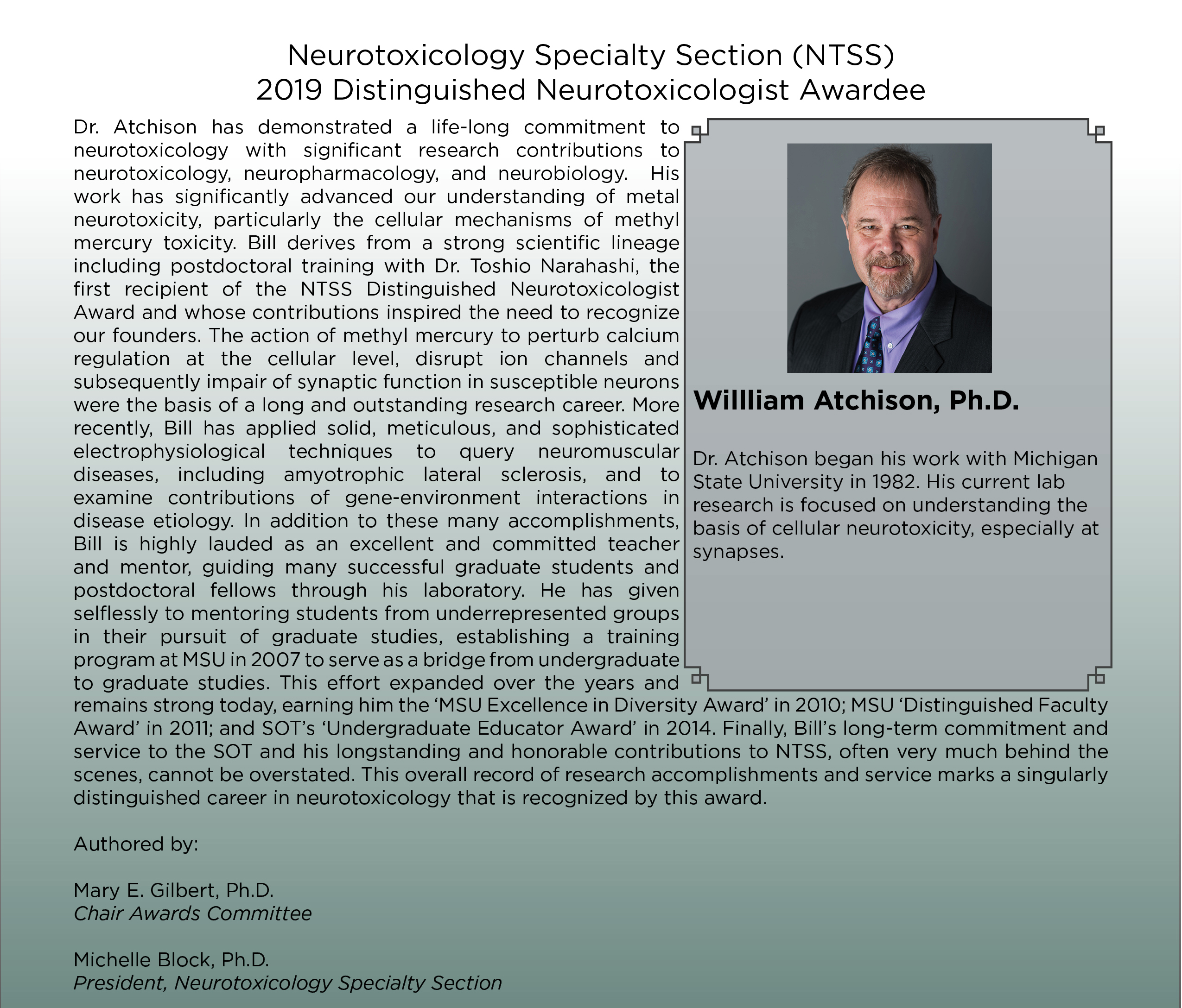 Dr. William Atchison- 2019 Distinguished Neurotoxicologist Awardee