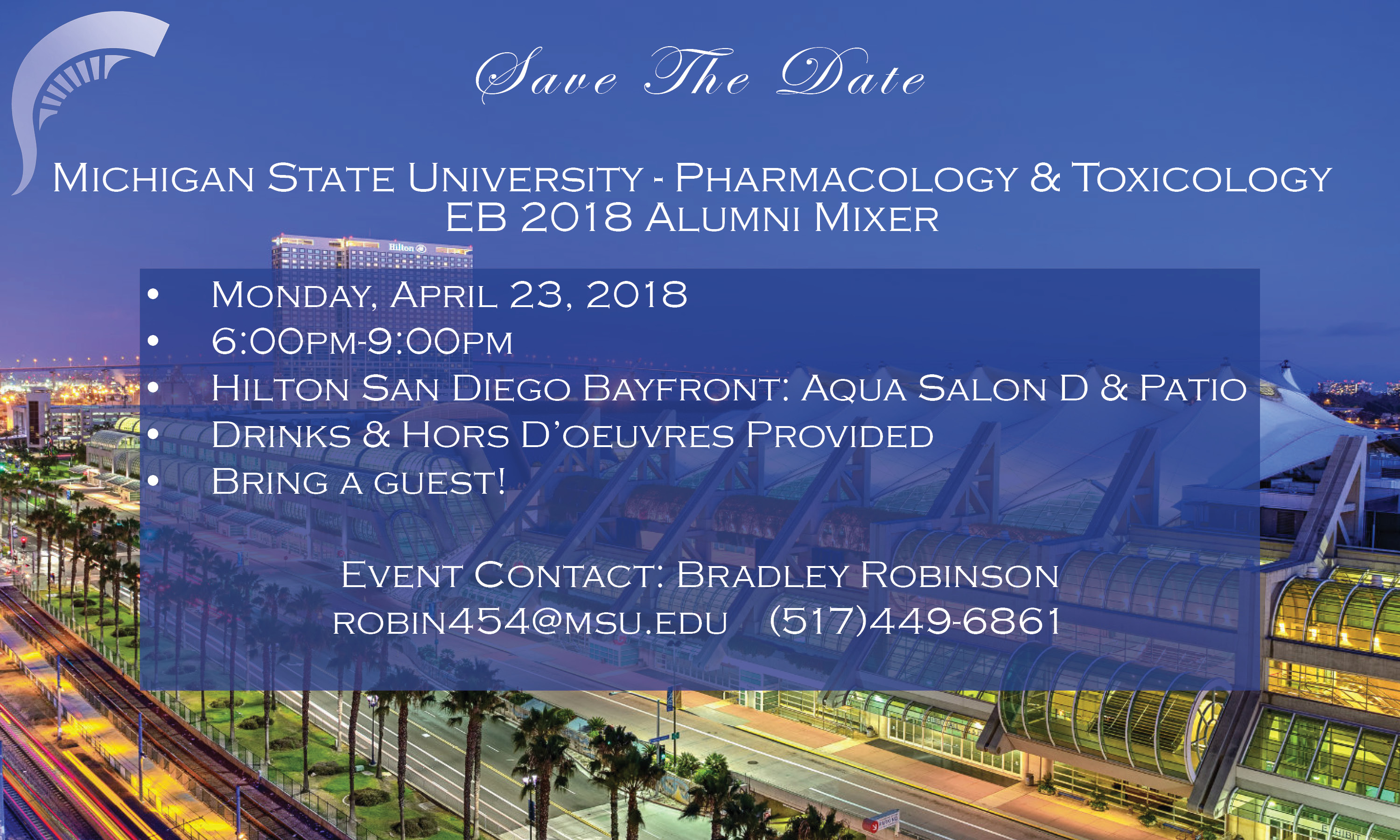 Picture shows Pharmacology & Toxicology Alumni Mixer Details shown on a picture of San Diego Convention Center